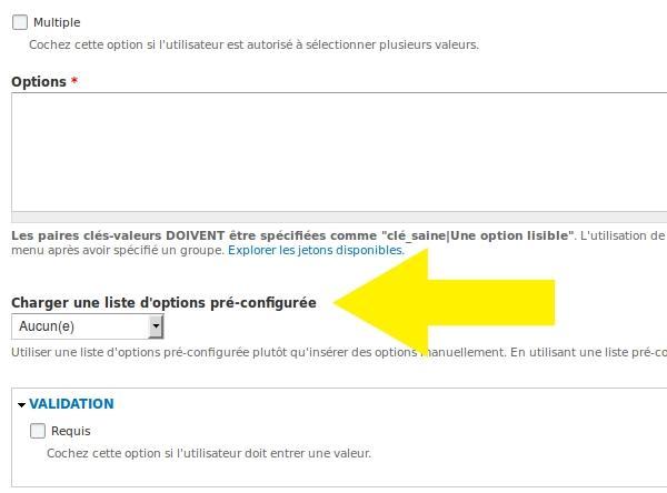 liste d'options pre configurée dans Webform