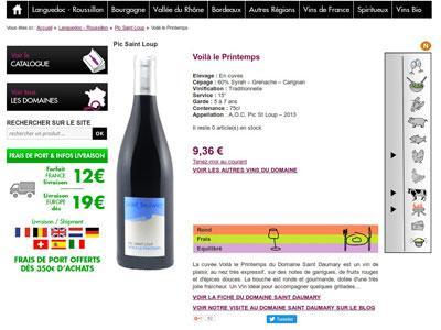 fiche produit vin